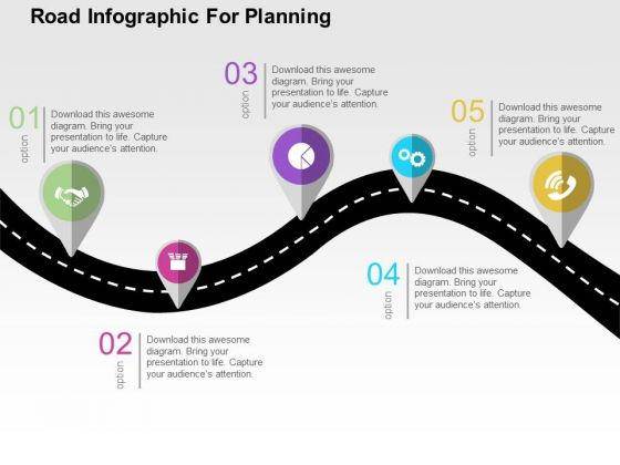 road infographic for planning powerpoint template powerpoint templates