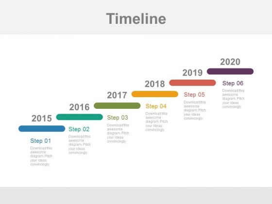 year based stair design timeline powerpoint slides powerpoint
